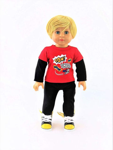18 Inch Boy Doll, Outfit, Shoes - Blonde