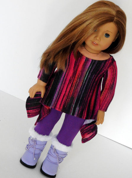 Trendy 18 Inch Doll Handmade Twirly Tunic - Leggings and Boots