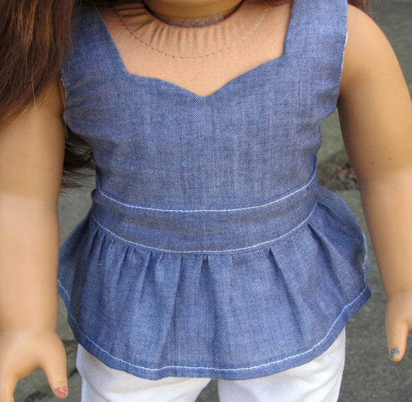 American Girl Doll Handmade Peplum Top and Skinny White Jeans