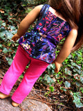 American Girl Doll Handmade Peplum Top and Hot Pink Skinny Jeans