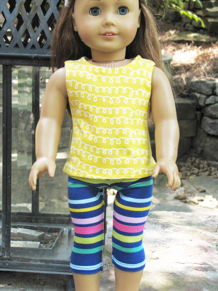 American Girl Doll Handmade Off the Shoulder Tee, Tank and Bright Striped Leggings