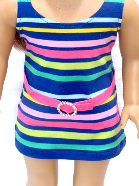 Trendy Striped Knit Mini Dress for American Girl Doll