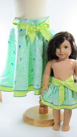 Doll and Me Matching Girl and 18 Inch Doll Double Layer Skirts