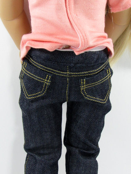 Kidz-N-Cats Doll Handmade Trendy Denim Dark Wash Denim and T-Shirt