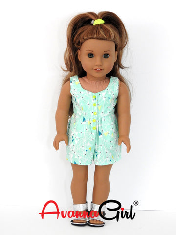 Surfrider Romper for American Girl Doll, 18 Inch Doll