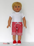 18 Inch Boy Doll Clothes - Board Shorts, T-Shirt, Sneakers fits American Girl Boy Doll