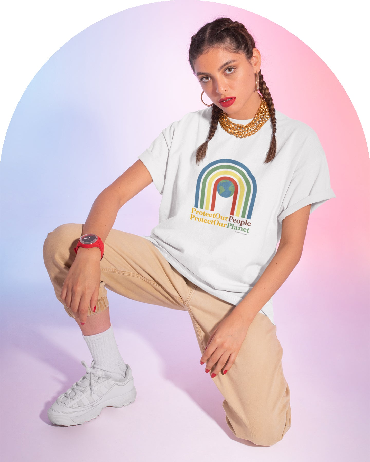 Rainbow Power: Protect Our People, Protect Our Planet ~ Unisex SS Cotton Tee Shirt