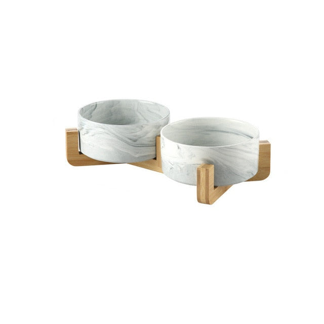 Ceramic Bamboo Double Bowl