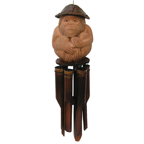 Carved Monkey Bamboo Wind Chime