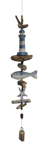 Carved Lighthouse w/ Fish & Star Windchime
