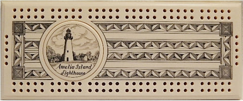 Scrimshaw Amelia Island Lighthouse Cribbage Board