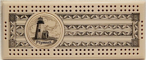 Scrimshaw Gurnet (Plymouth) Lighthouse Cribbage Board