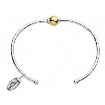 """Beach Collection"" Sterling Silver Cuff Bracelet w/ 14kt gold ball"