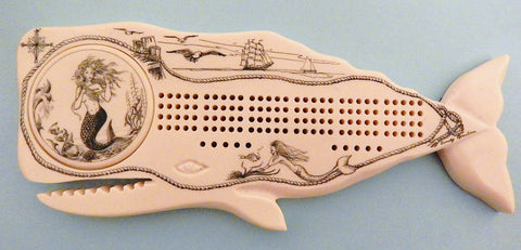 Scrimshaw Whale Cribbage Board w/ Mermaid Well Cover