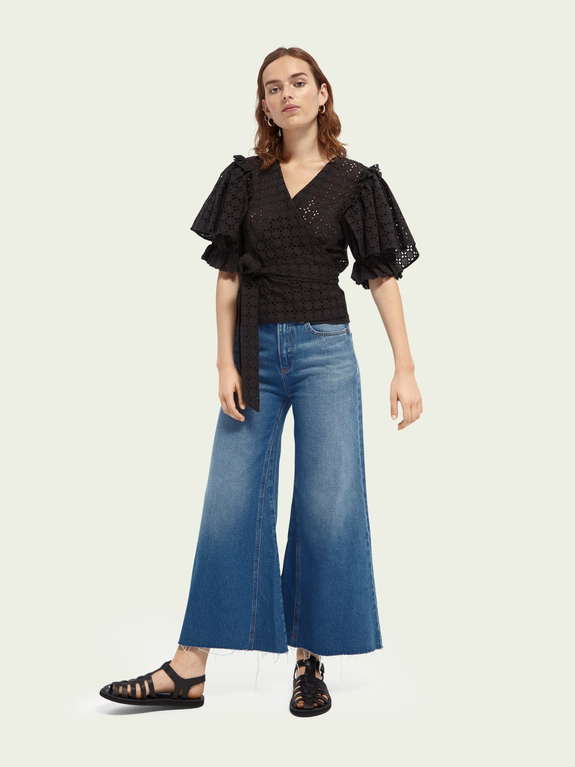 Scotch and Soda Cropped high-rise wide-leg jeans - La Chance