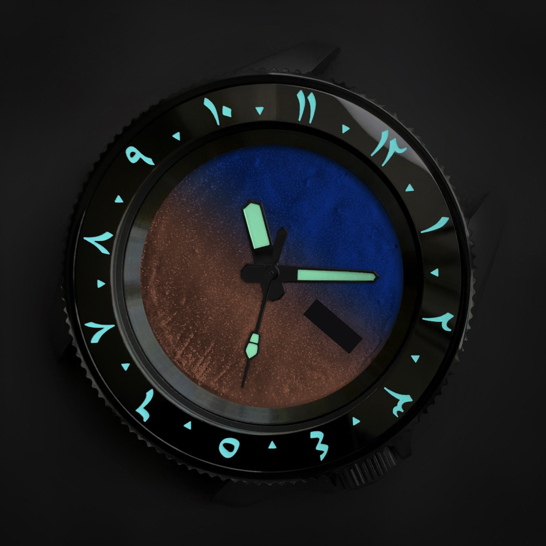 Ceramic Insert - 007 Arabic Dual Time Black - Luminous Aquaris