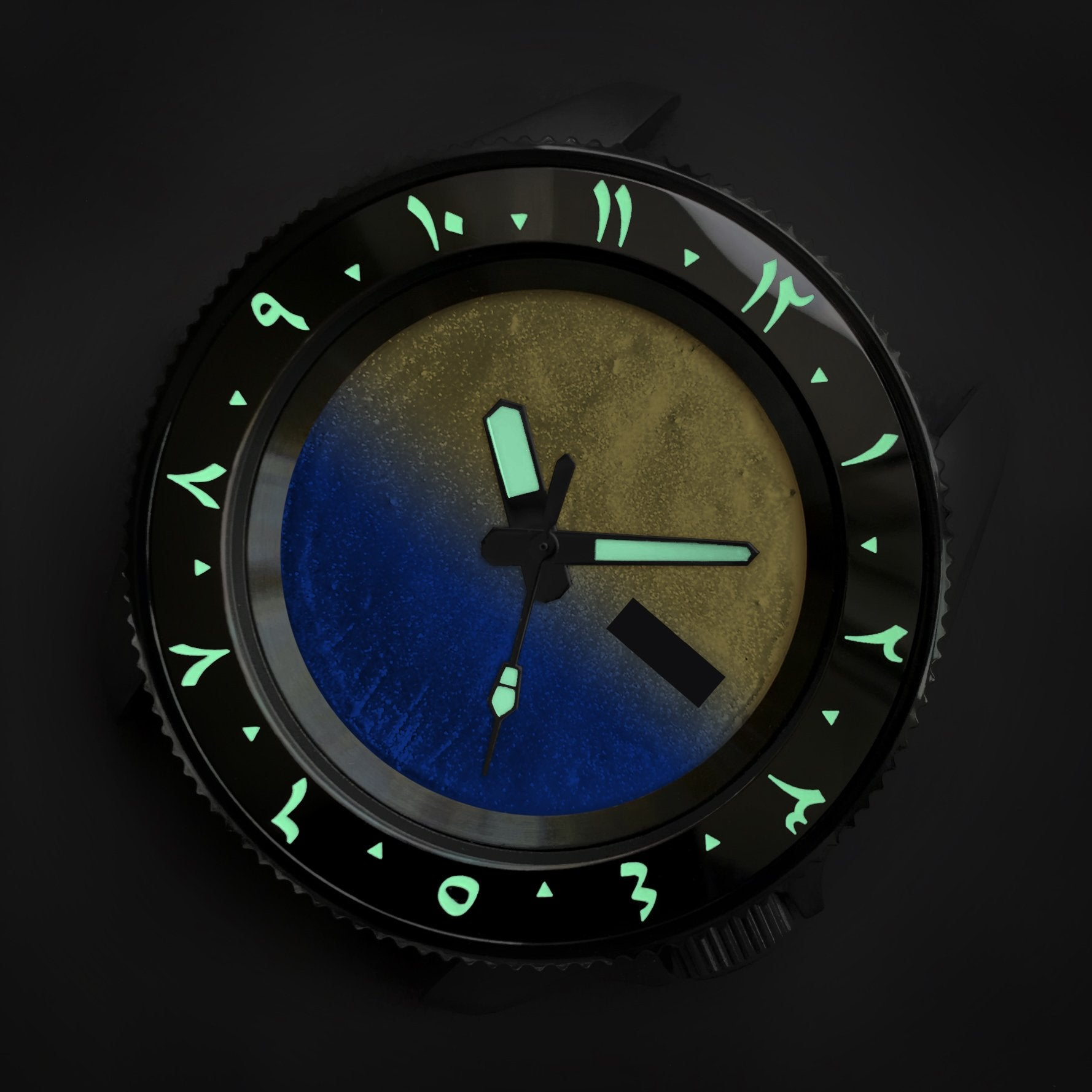 Ceramic Insert - 007 Arabic Dual Time Black - Luminous Green