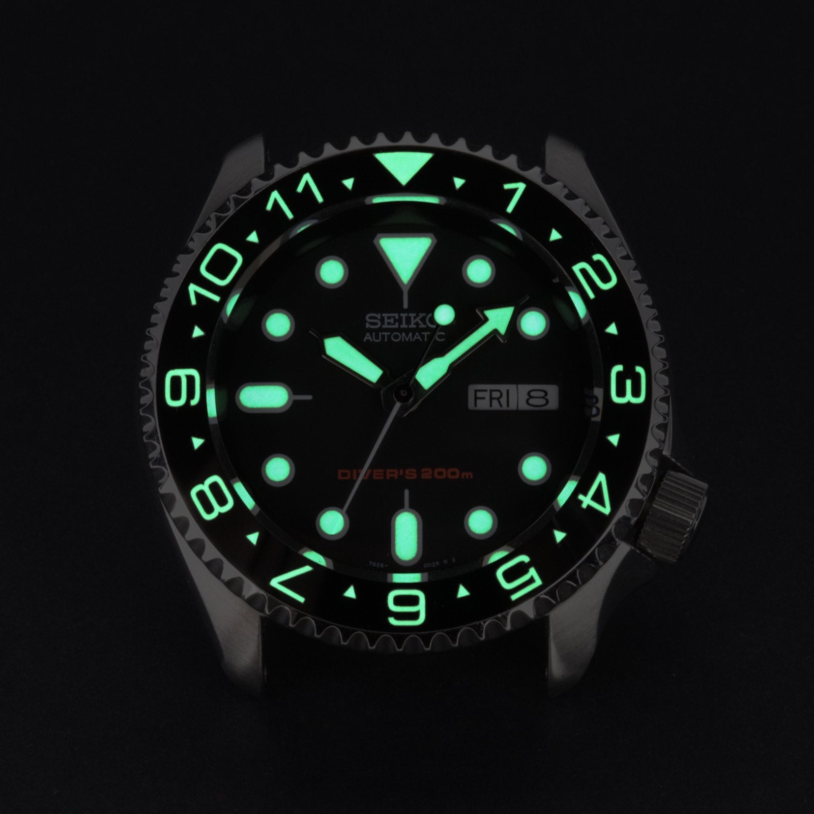 Ceramic Insert - 007 Dual Time Black - Luminous Green