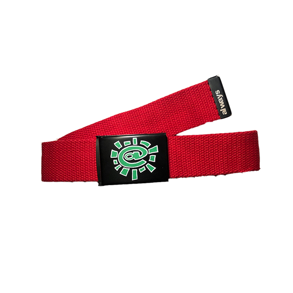 red silk screen belt