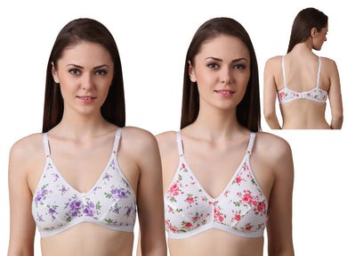 Women's Regular Cotton Wear Assorted Colour Printed  Bra Pack Of 2