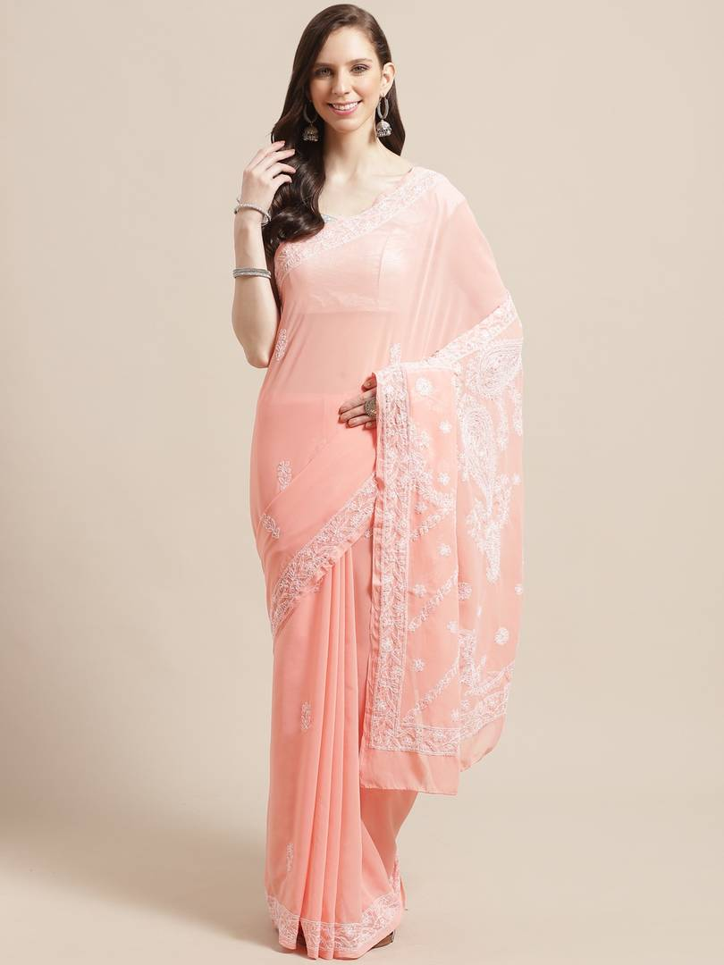 Women's Poly Georgette Printed Saree in Peach with Blouse piece