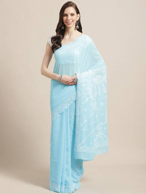 Women's Poly Georgette Printed Saree in Blue with Blouse piece