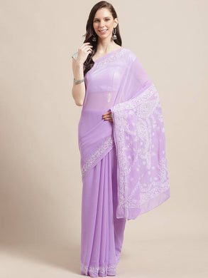 Women's Poly Georgette Printed Saree in Purple with Blouse piece
