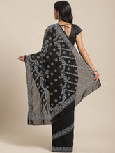 Load image into Gallery viewer, Women's Black Poly Georgette Printed Saree with Blouse piece