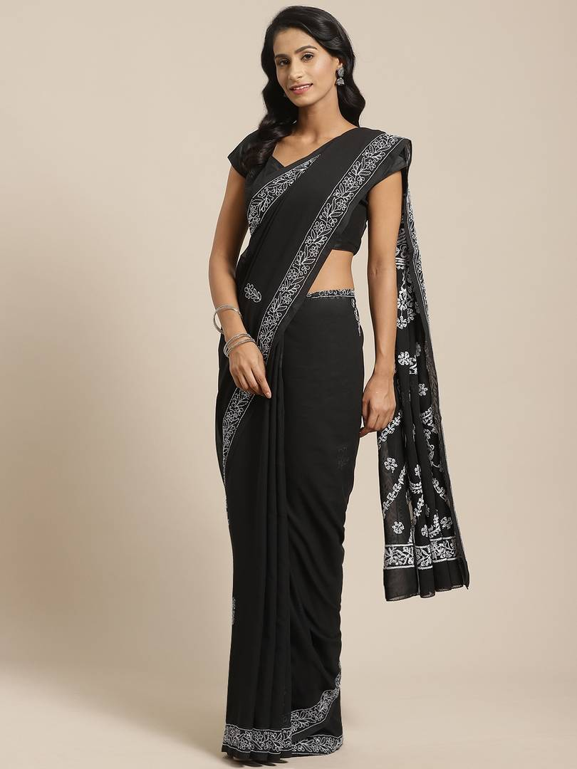 Women's Black Poly Georgette Printed Saree with Blouse piece