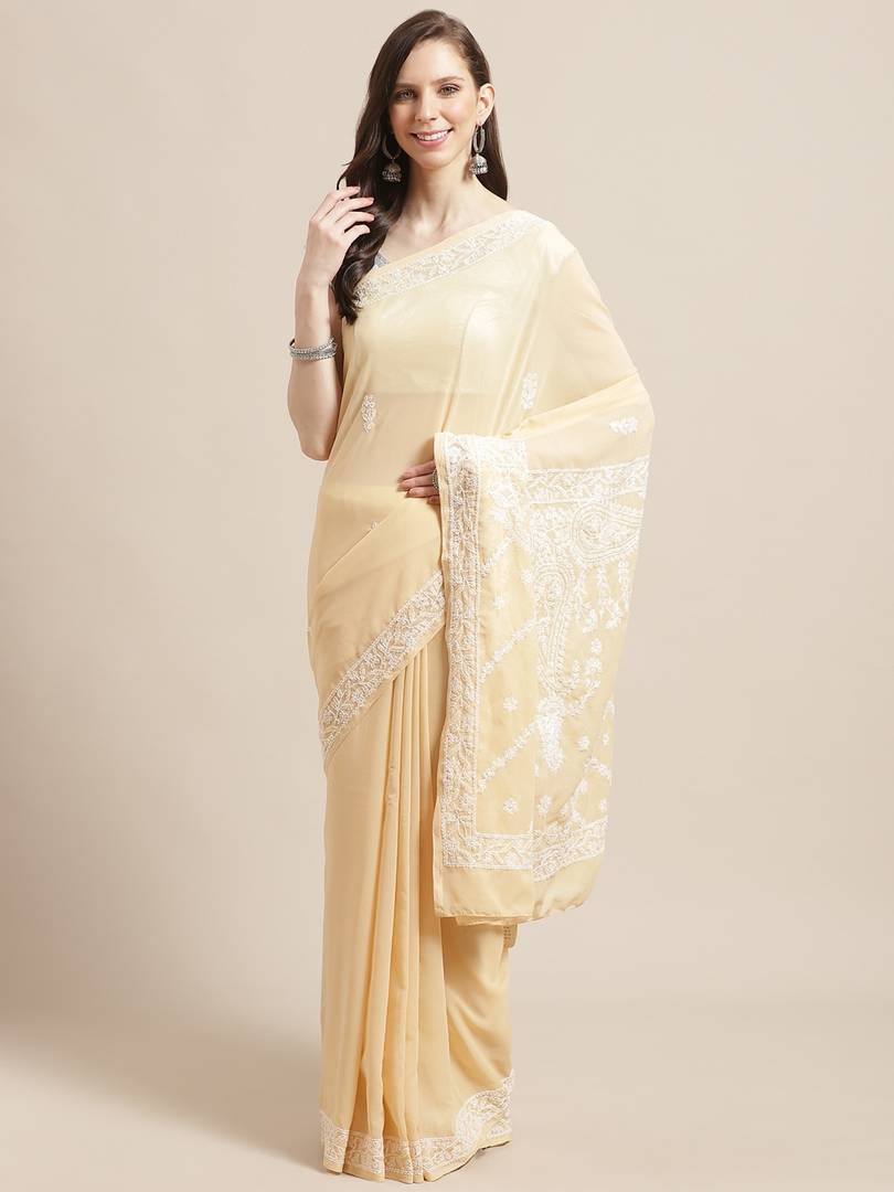 Women's Poly Georgette Printed Saree in Beige with Blouse piece