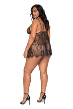 Load image into Gallery viewer, LI275 - Elegant Eyelash Lace Babydoll with Panty
