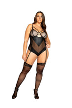 Load image into Gallery viewer, LI324 - Netted Matte Bodysuit with Garter Set
