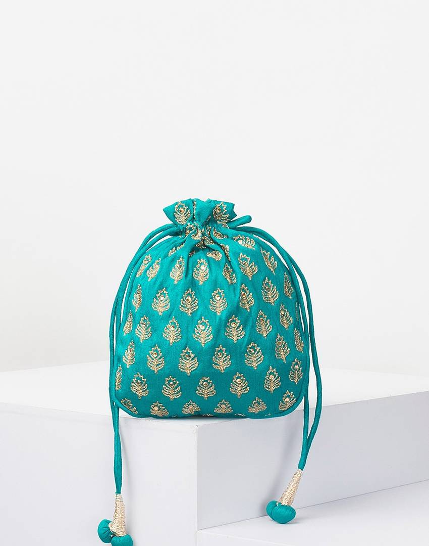 Poly Silk Embroidered Potli Bag For Women