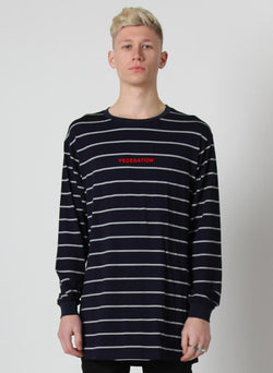 STRIPED LS LOOK TEE - WORDS
