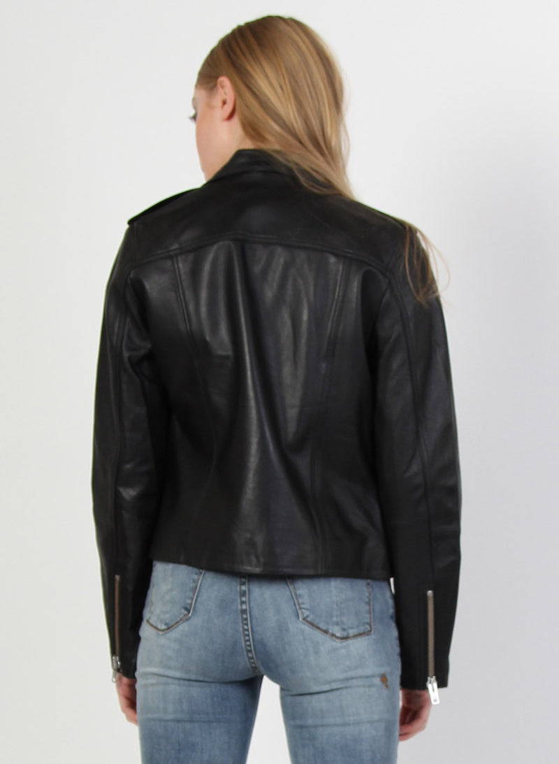 LEATHER JACKET - SILVER