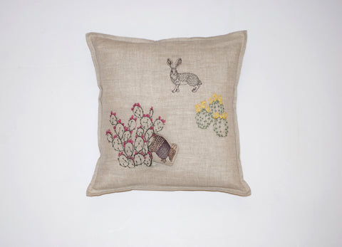 Armadillo & Saguaro Pillow