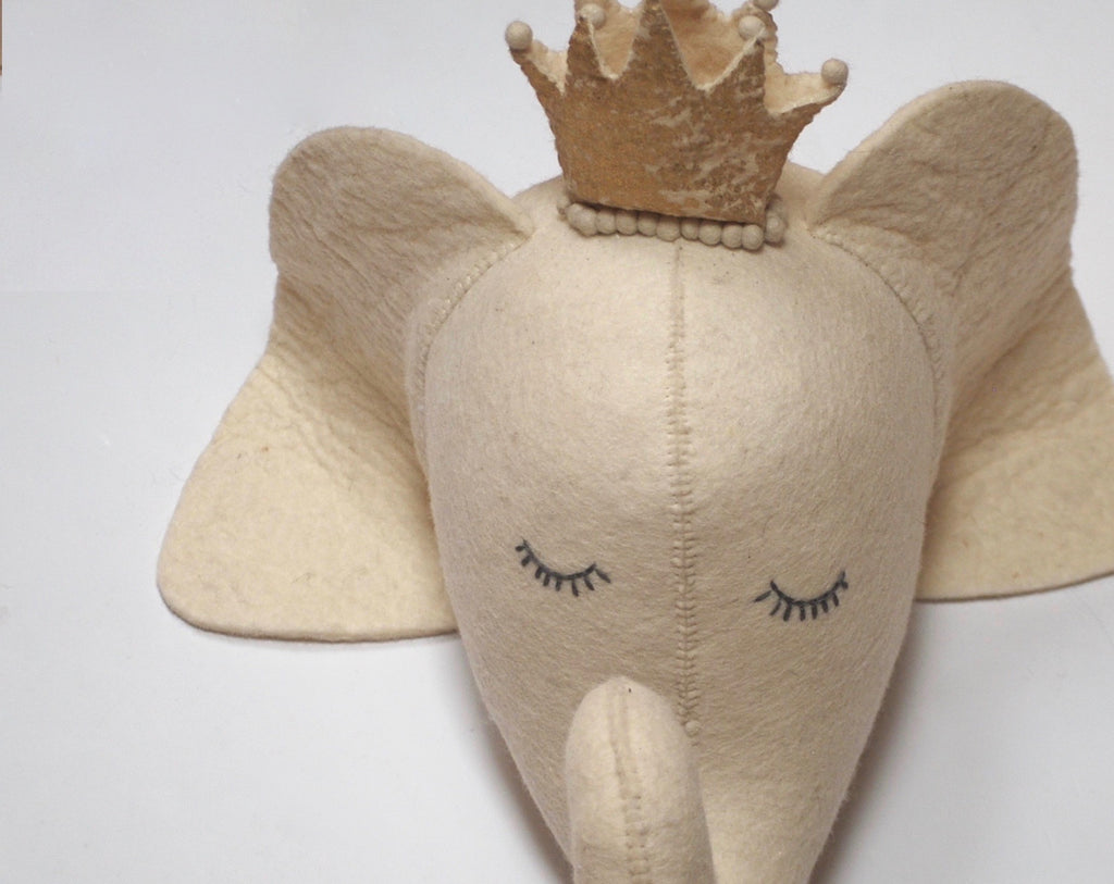 Sleepy eyes Elephant Head with Crown