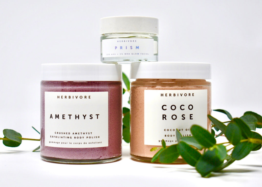 Herbivore Exfoliate + Glow Head-to-Toe Self Care Trio