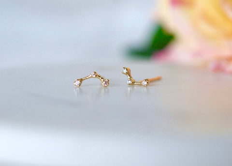N & A Constellation Three Diamond Earrings