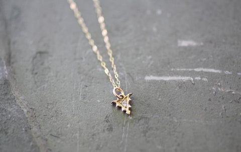 Tiny Arrow with Diamond Necklace