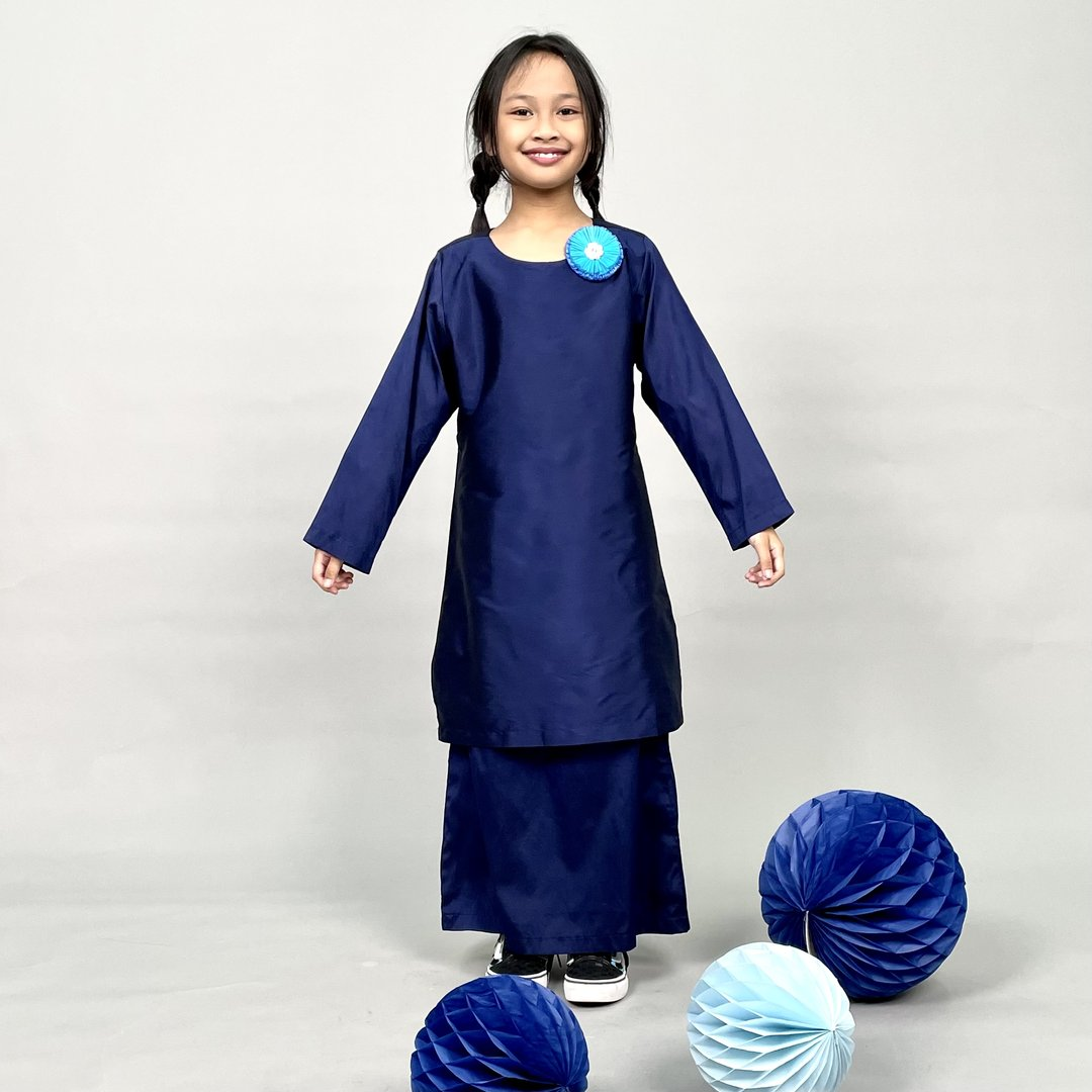 Navy Blue Tafetta Baju Kurung with Teal/ Blue Gerbera Brooch