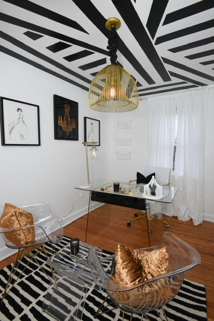 Black and white pattern office designed by Remix Living Dominique Calhoun
