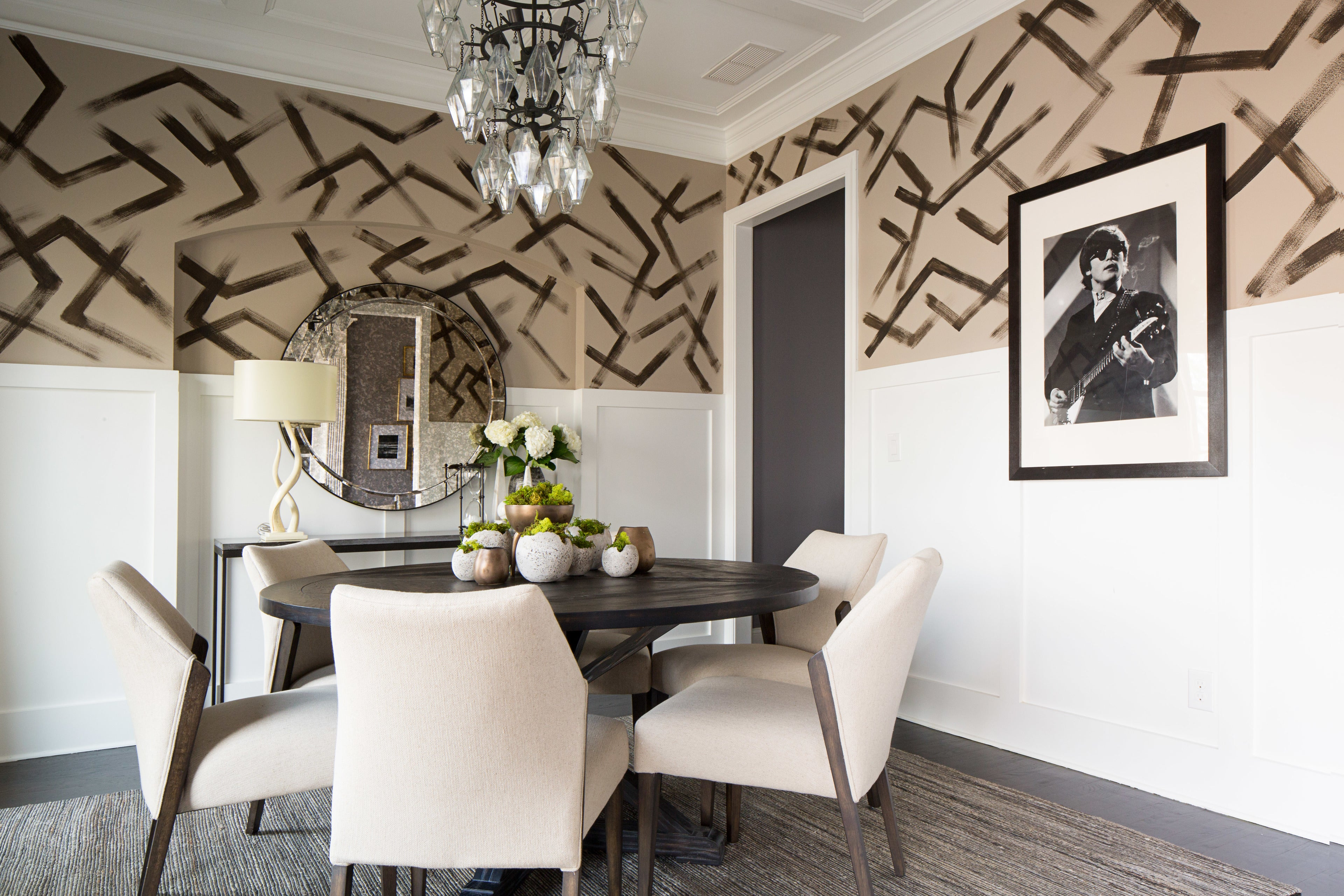 Cream dining room with funky pattern