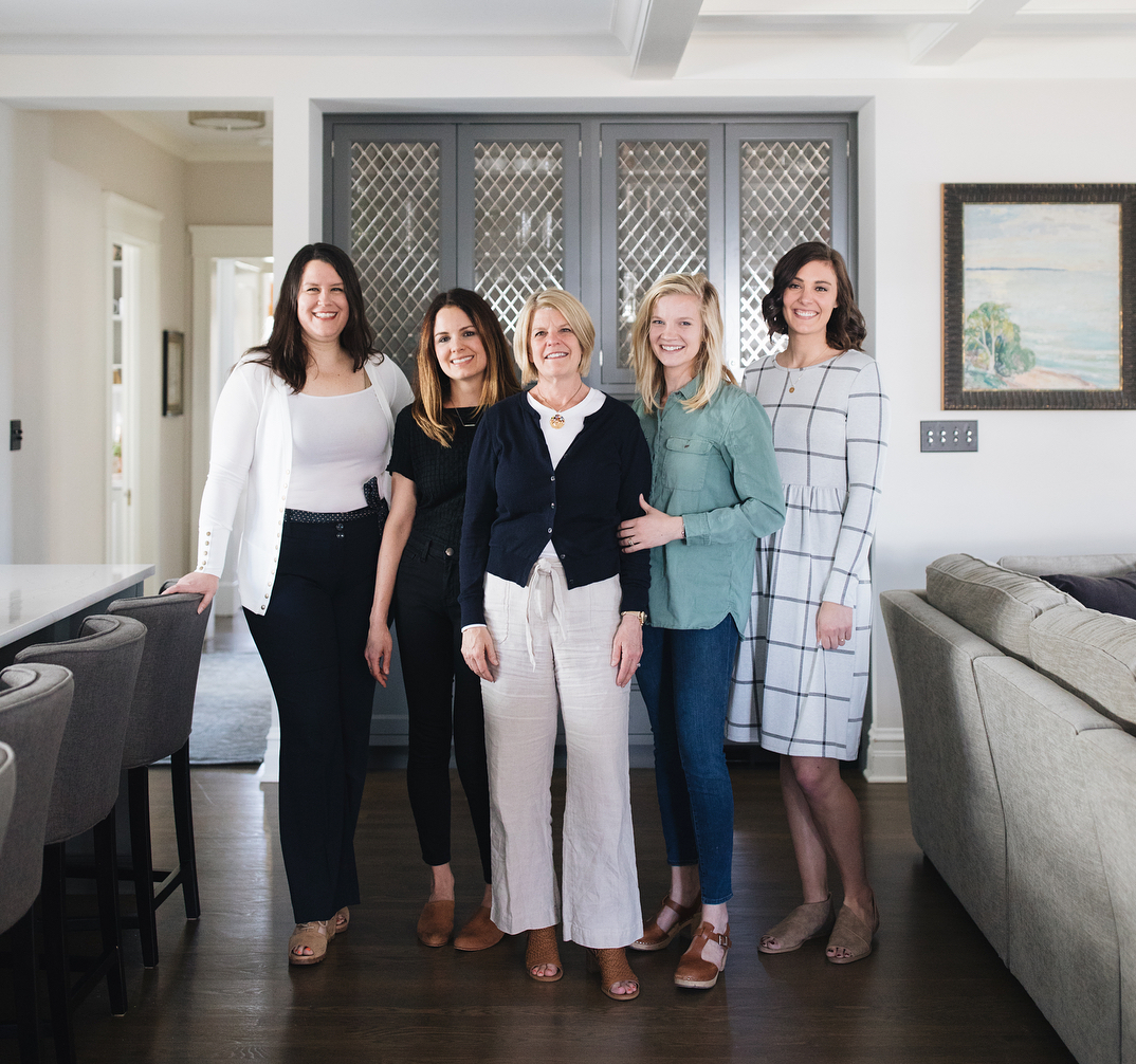 Jean Stoffer with her daughter Grace and Jean Stoffer Design team