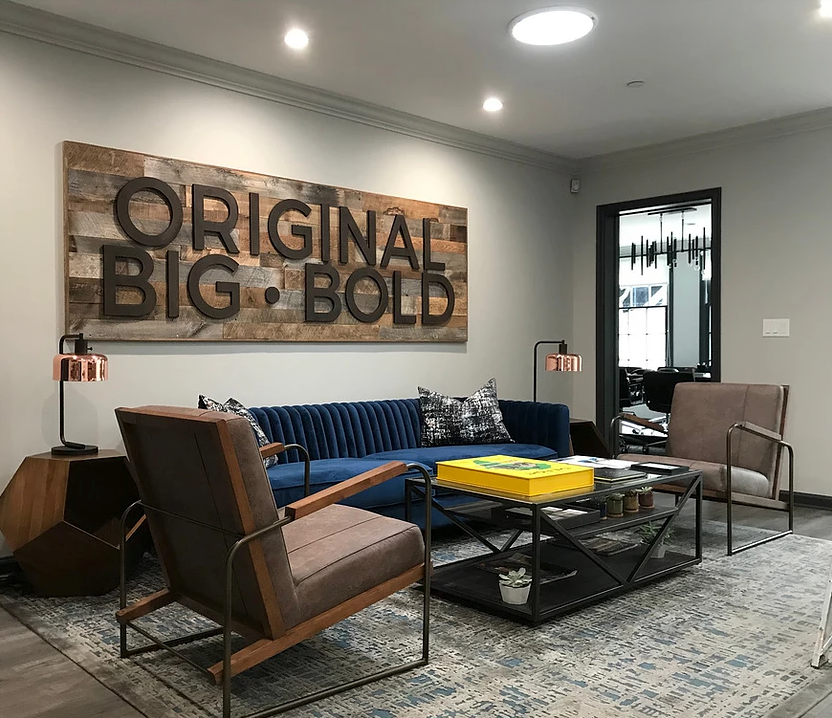 Office lobby designed by L.A. designer Amber Williams of Amber Nicole Interiors