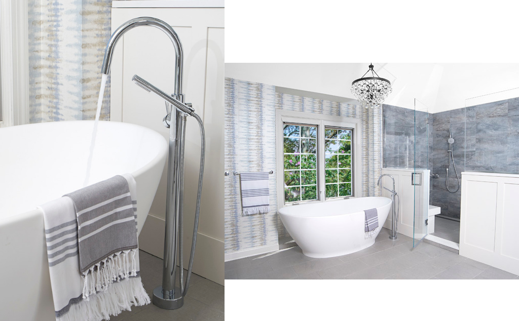 Grey and blue bathroom with tub and chandelier designed by Fox + Chenko