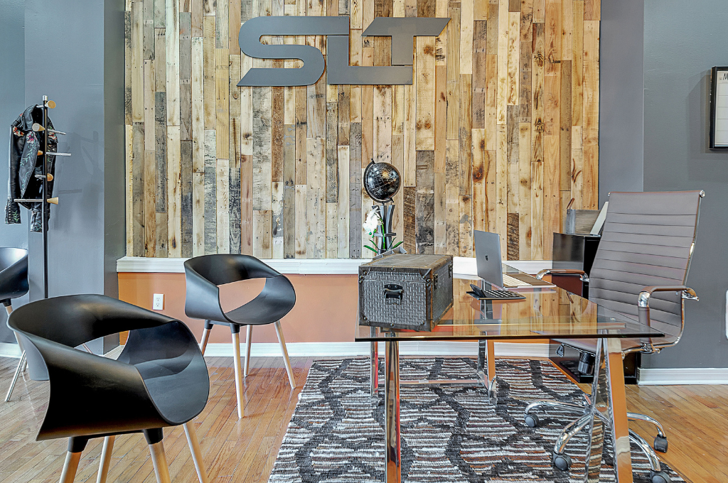 Office designed by Remix Living Dominique Calhoun that mixes patterns and textiles