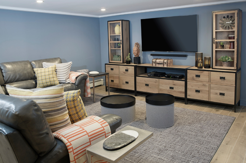 Fox and Chenko family room with sofa and tv and media cabinet