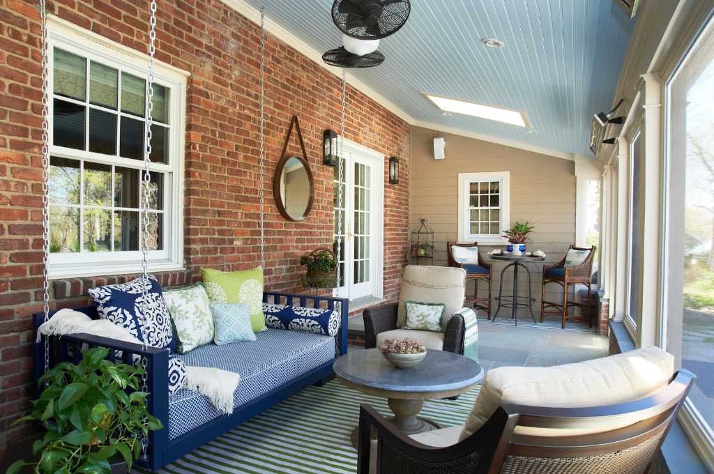 Outdoor porch space designed by Fox and Chenko Interiors