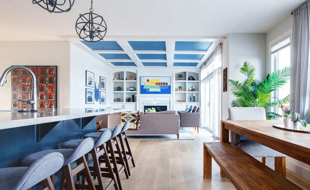 Open concept kitchen, dining room and living room Design by Louis Duncan-He Designs